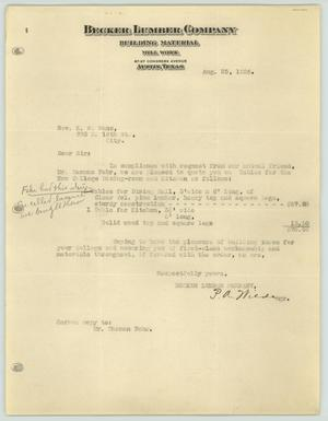 Primary view of object titled '[Letter from Becker Lumber Company to K. G. Manz, August 25, 1926]'.