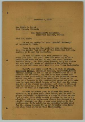 Primary view of object titled '[Letter from Arthur Fehr to Henry W. Horst, December 9, 1929]'.