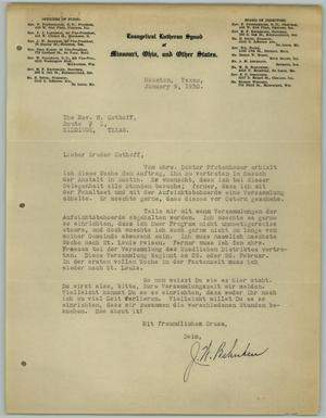 Primary view of object titled '[Letter from J. W. Behnken to R. Osthoff, January 9, 1930]'.