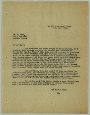Primary view of object titled '[Letter to H. Fehr, October 13, 1928]'.