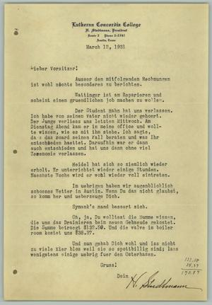 "Primary view of object titled '[Letter from H. Studtmann to ""Vorsitzer"", March 12, 1931]'."