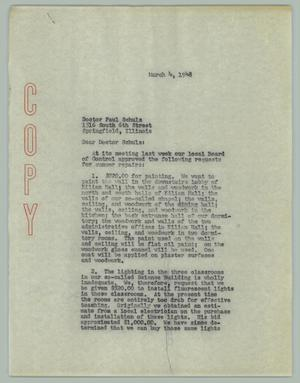 Primary view of object titled '[Letter from George J. Beto to Paul Schulz, March 4, 1948]'.