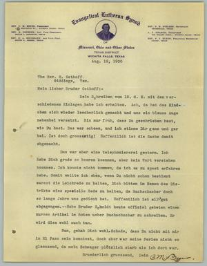Primary view of object titled '[Letter from C. M. Beyer to R. Osthoff, August 19, 1930]'.