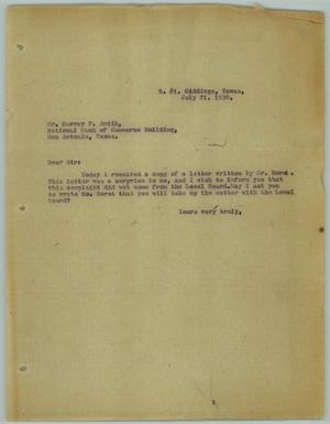 Primary view of object titled '[Letter from R. Osthoff to Harvey P. Smith, July 21, 1930]'.