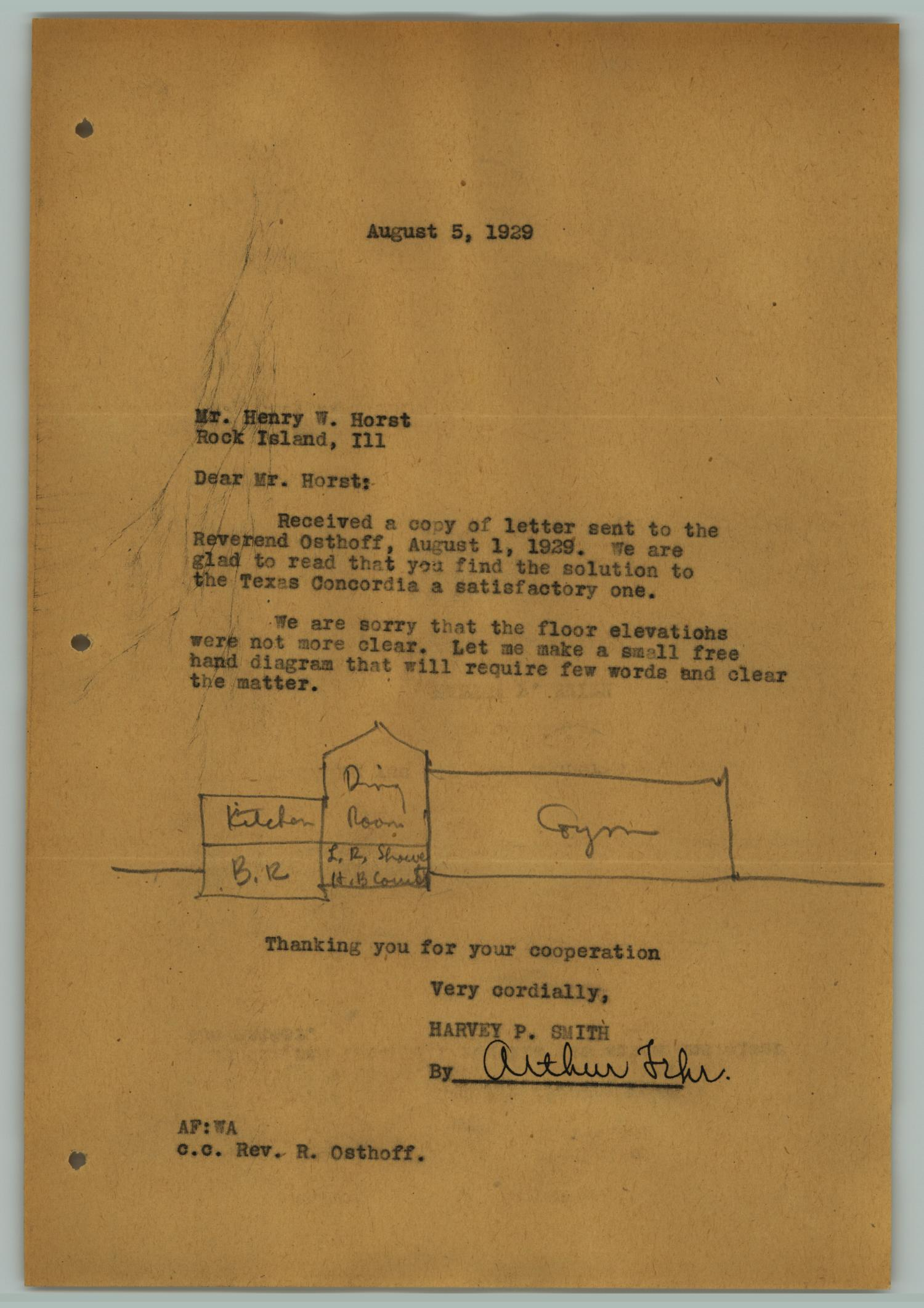 [Letter from Arthur Fehr to Henry W. Horst, August 5, 1929]                                                                                                      [Sequence #]: 1 of 2