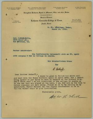 Primary view of object titled '[Correspondence Between R. Osthoff and M. W. H. Holls, March 14, 1928]'.