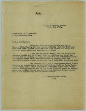 Primary view of object titled '[Carbon Copy of Letter from R. Osthoff to H. C. Gaertner, September 28, 1927]'.