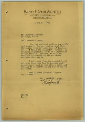 Primary view of object titled '[Letter from Harvey P. Smith to R. Osthoff, July 23, 1930]'.