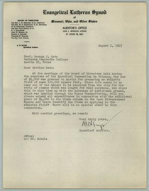 Primary view of object titled '[Letter from A. W. Huge to George J. Beto, August 1, 1947]'.