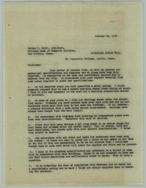 Primary view of object titled '[Letter from Henry W. Horst to Arthur Fehr, October 22, 1929]'.