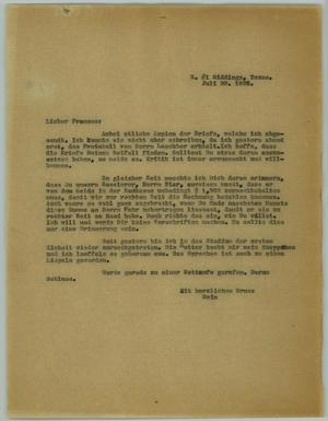 "Primary view of object titled '[Letter from R. Osthoff to ""Praeses,"" July 30, 1926]'."