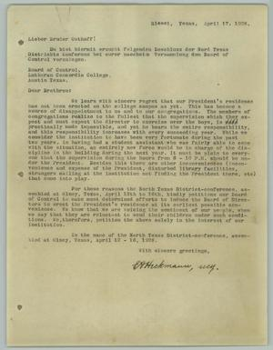 Primary view of object titled '[Letter from E. A. Heckmann to the Board of Control, April 17, 1928]'.