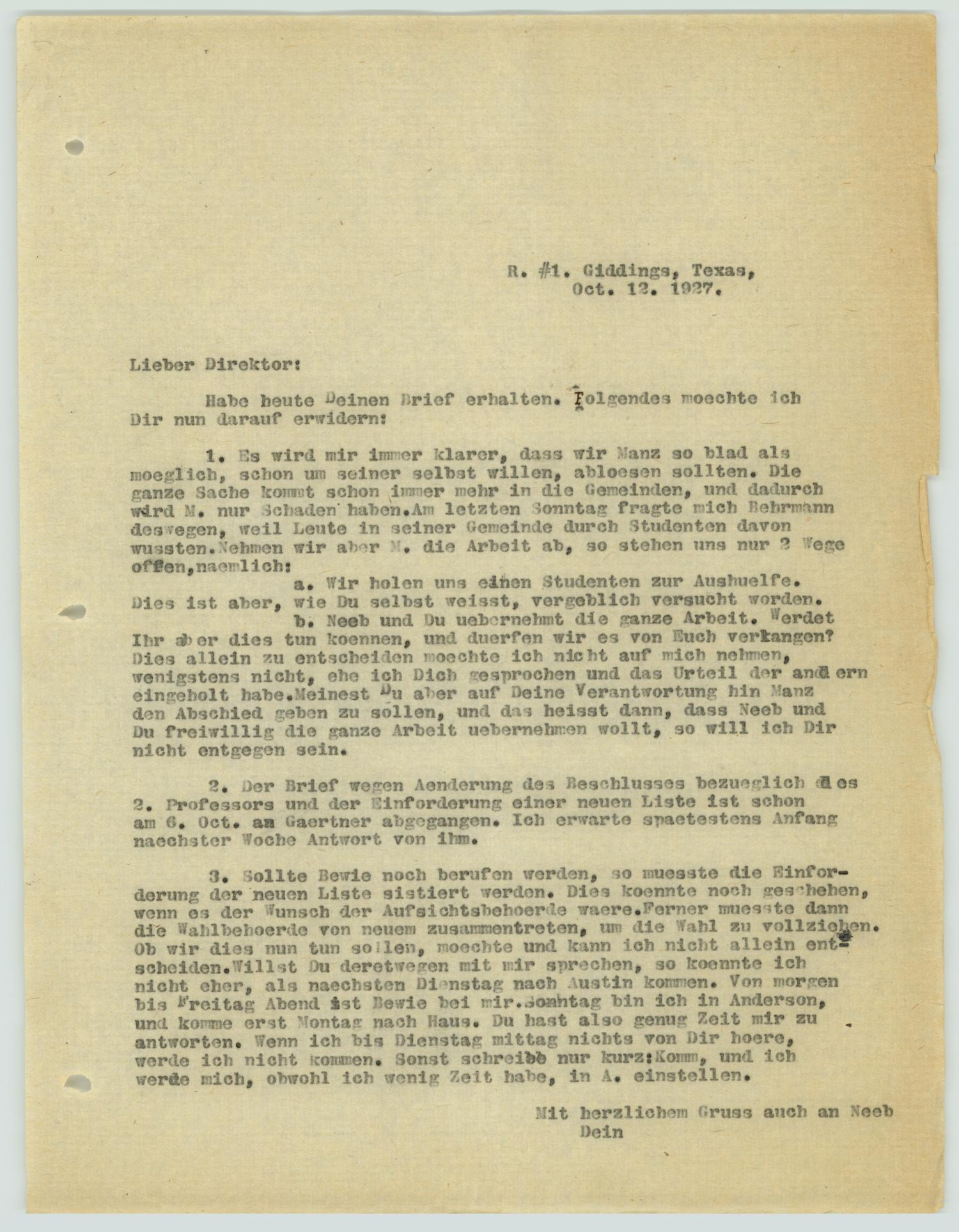[Letter from R. Osthoff to H. Studtmann, October 12, 1927]                                                                                                      [Sequence #]: 1 of 2