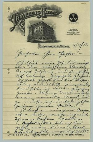Primary view of object titled '[Letter from H. Fehr, September 19, 1928]'.
