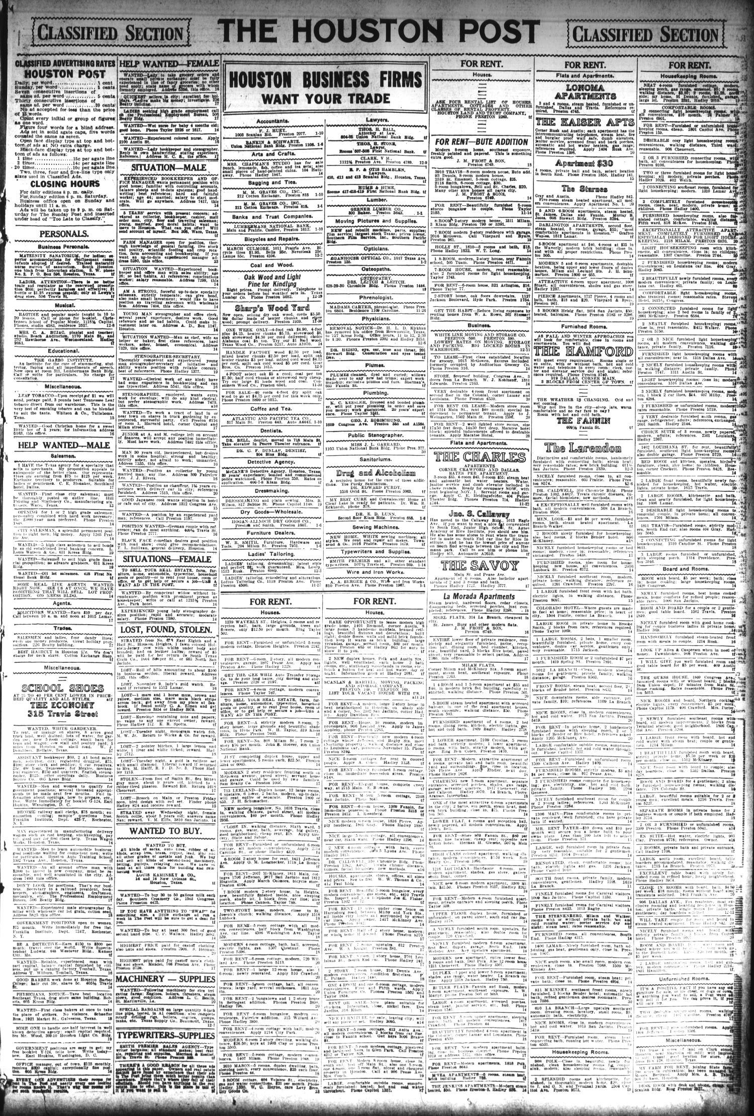 The Houston Post  (Houston, Tex ), Vol  29, No  225, Ed  1