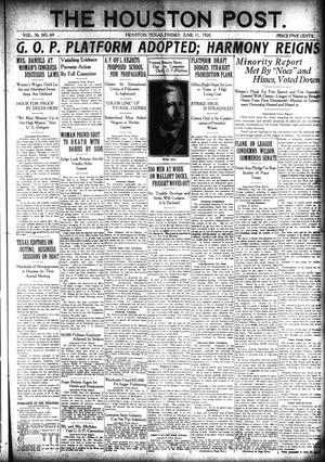 Primary view of The Houston Post. (Houston, Tex.), Vol. 36, No. 69, Ed. 1 Friday, June 11, 1920