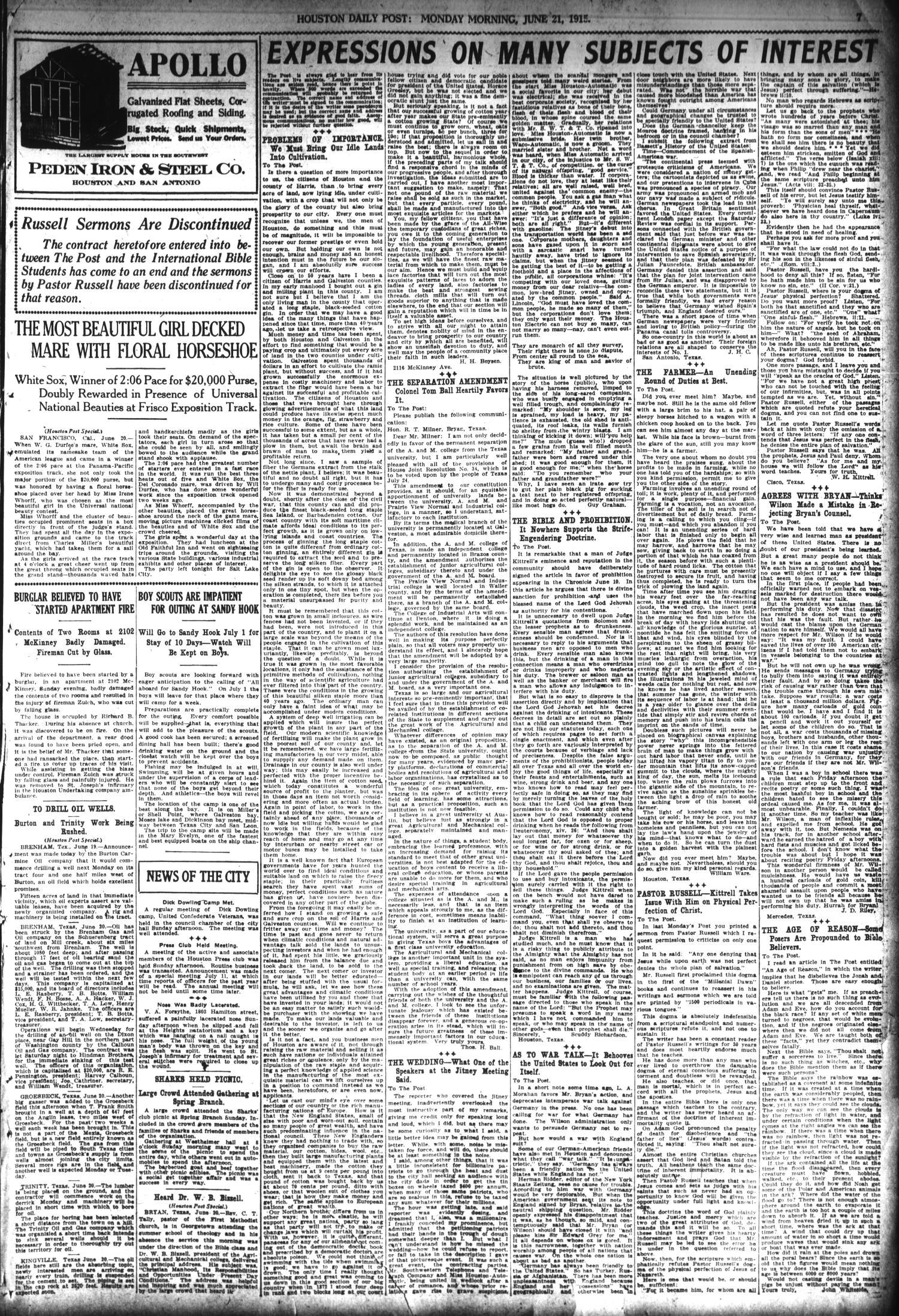 The Houston Post  (Houston, Tex ), Vol  30, No  79, Ed  1