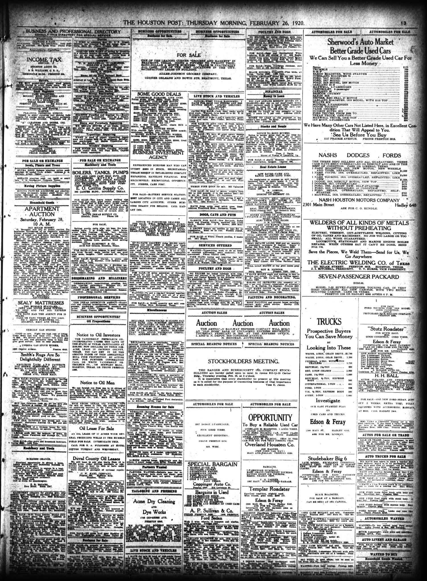 The Houston Post Houston Tex Vol 35 No 328 Ed 1 Thursday