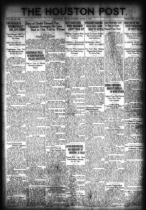 Primary view of object titled 'The Houston Post. (Houston, Tex.), Vol. 36, No. 366, Ed. 1 Monday, April 4, 1921'.