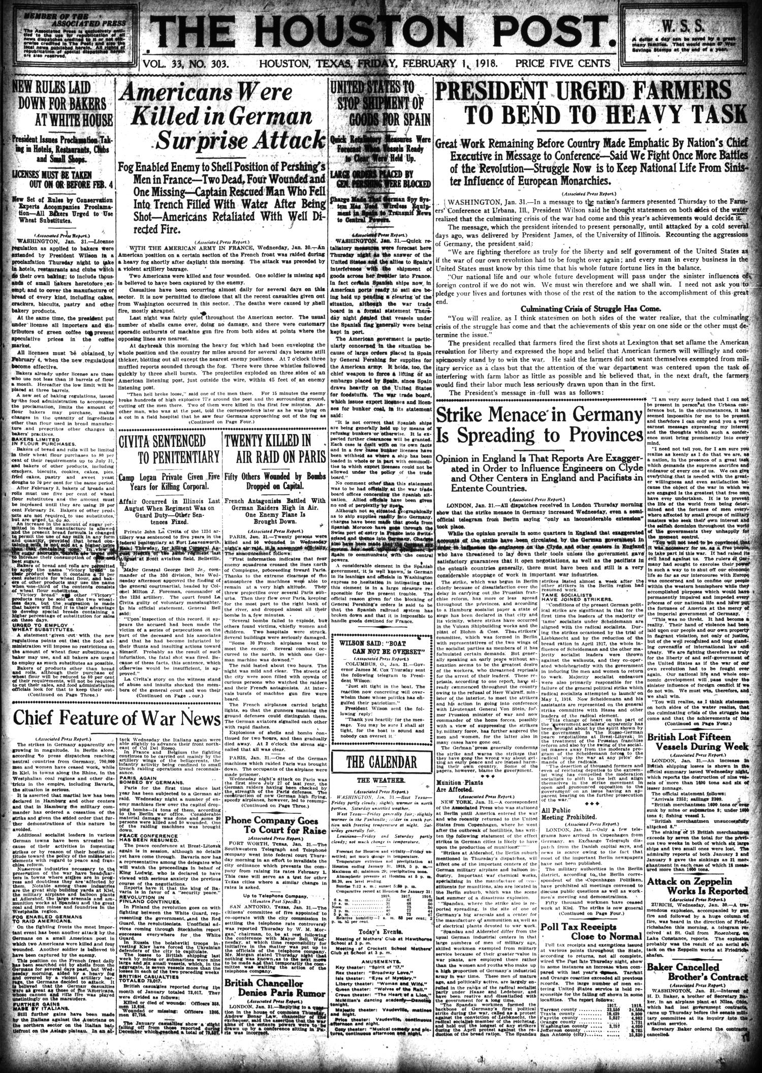 The Houston Post. (Houston, Tex.), Vol. 33, No. 303, Ed. 1 Friday, February 1, 1918                                                                                                      [Sequence #]: 1 of 14