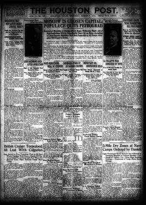 Primary view of object titled 'The Houston Post. (Houston, Tex.), Vol. 33, No. 337, Ed. 1 Thursday, March 7, 1918'.