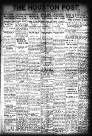 Primary view of object titled 'The Houston Post. (Houston, Tex.), Vol. 36, No. 319, Ed. 1 Wednesday, February 16, 1921'.