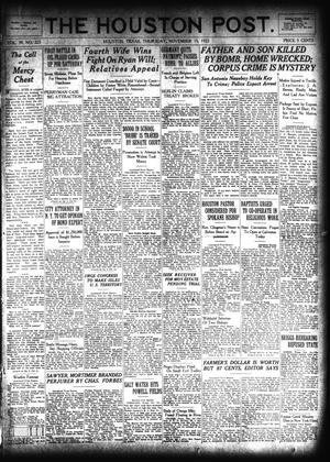 Primary view of object titled 'The Houston Post. (Houston, Tex.), Vol. 39, No. 225, Ed. 1 Thursday, November 15, 1923'.