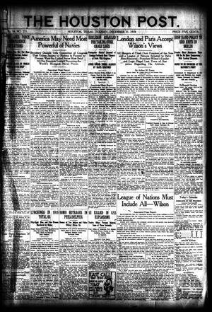 Primary view of object titled 'The Houston Post. (Houston, Tex.), Vol. 34, No. 271, Ed. 1 Tuesday, December 31, 1918'.