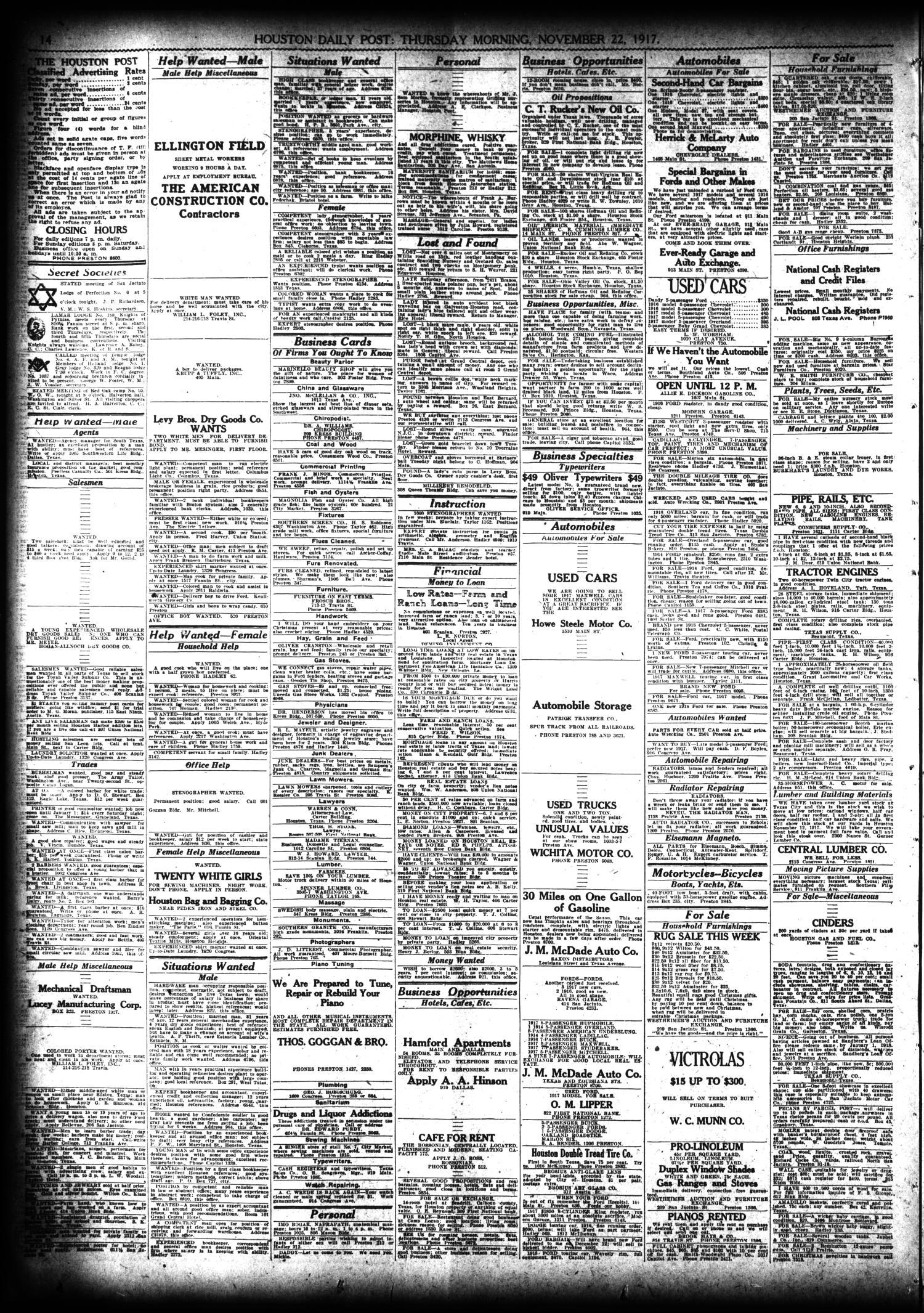 The Houston Post  (Houston, Tex ), Vol  33, No  232, Ed  1 Thursday