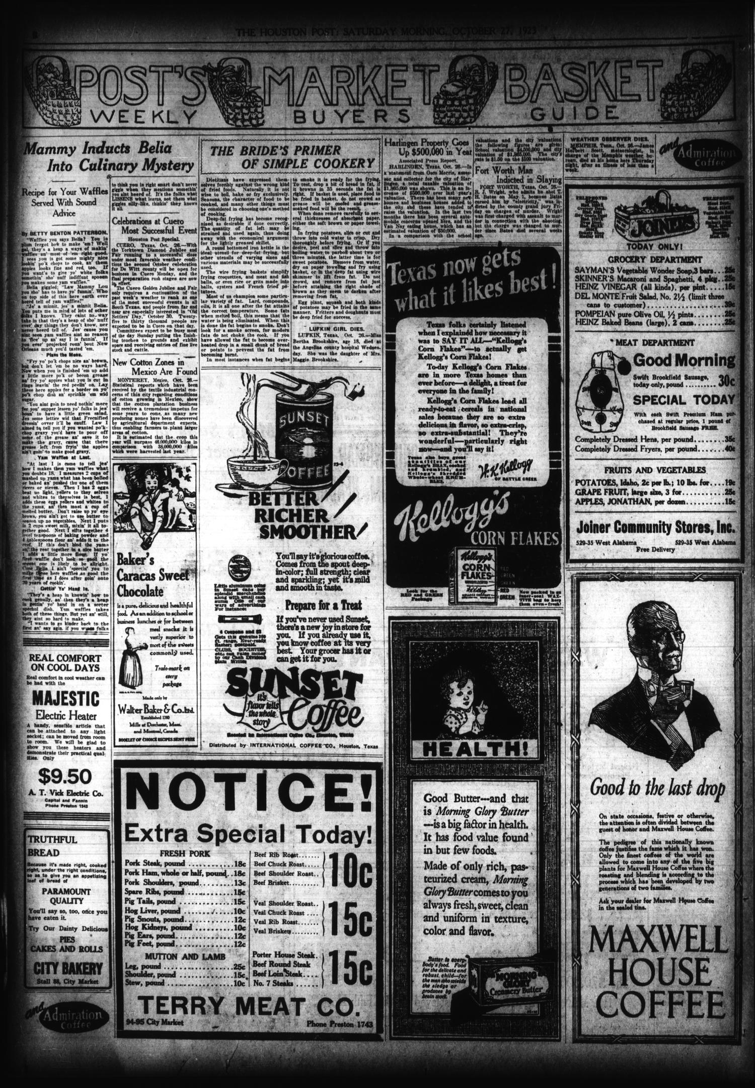 The Houston Post. (Houston, Tex.), Vol. 39, No. 206, Ed. 1 Saturday, October 27, 1923                                                                                                      [Sequence #]: 4 of 14