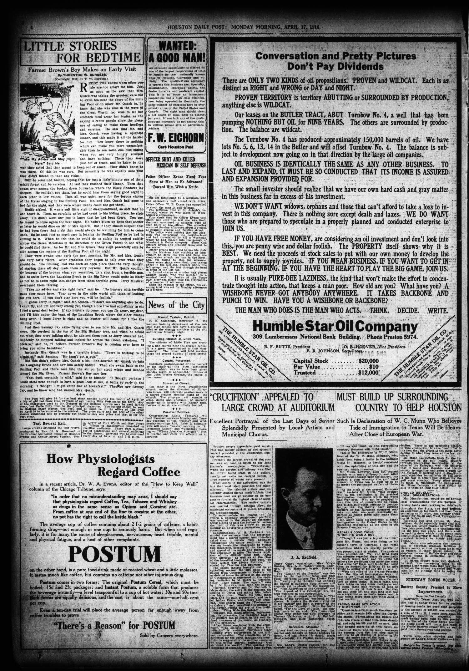 The Houston Post. (Houston, Tex.), Vol. 31, No. 13, Ed. 1 Monday, April 17, 1916                                                                                                      [Sequence #]: 4 of 14