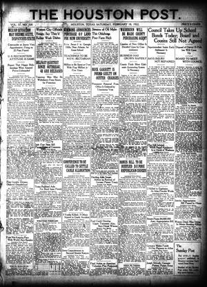 Primary view of object titled 'The Houston Post. (Houston, Tex.), Vol. 37, No. 320, Ed. 1 Saturday, February 18, 1922'.