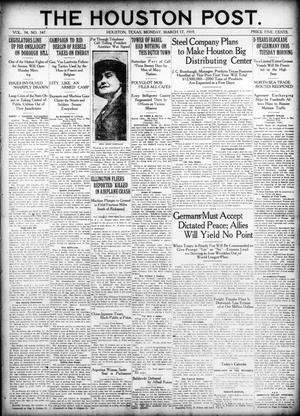 Primary view of object titled 'The Houston Post. (Houston, Tex.), Vol. 34, No. 347, Ed. 1 Monday, March 17, 1919'.