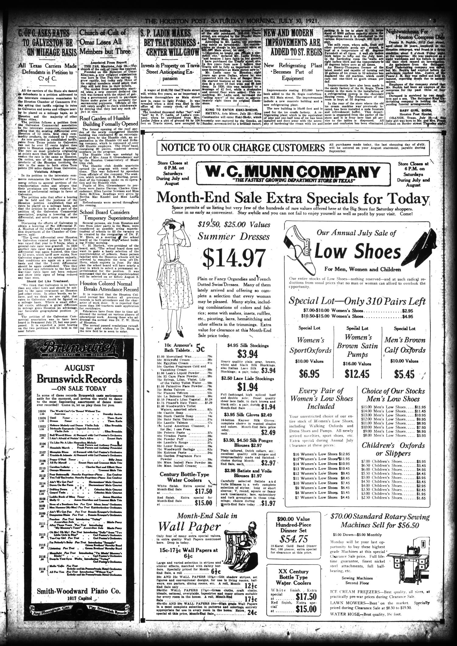 The Houston Post. (Houston, Tex.), Vol. 37, No. 117, Ed. 1 Saturday, July 30, 1921                                                                                                      [Sequence #]: 3 of 16