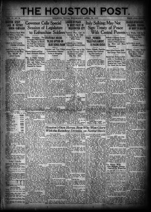 Primary view of object titled 'The Houston Post. (Houston, Tex.), Vol. 35, No. 26, Ed. 1 Wednesday, April 30, 1919'.