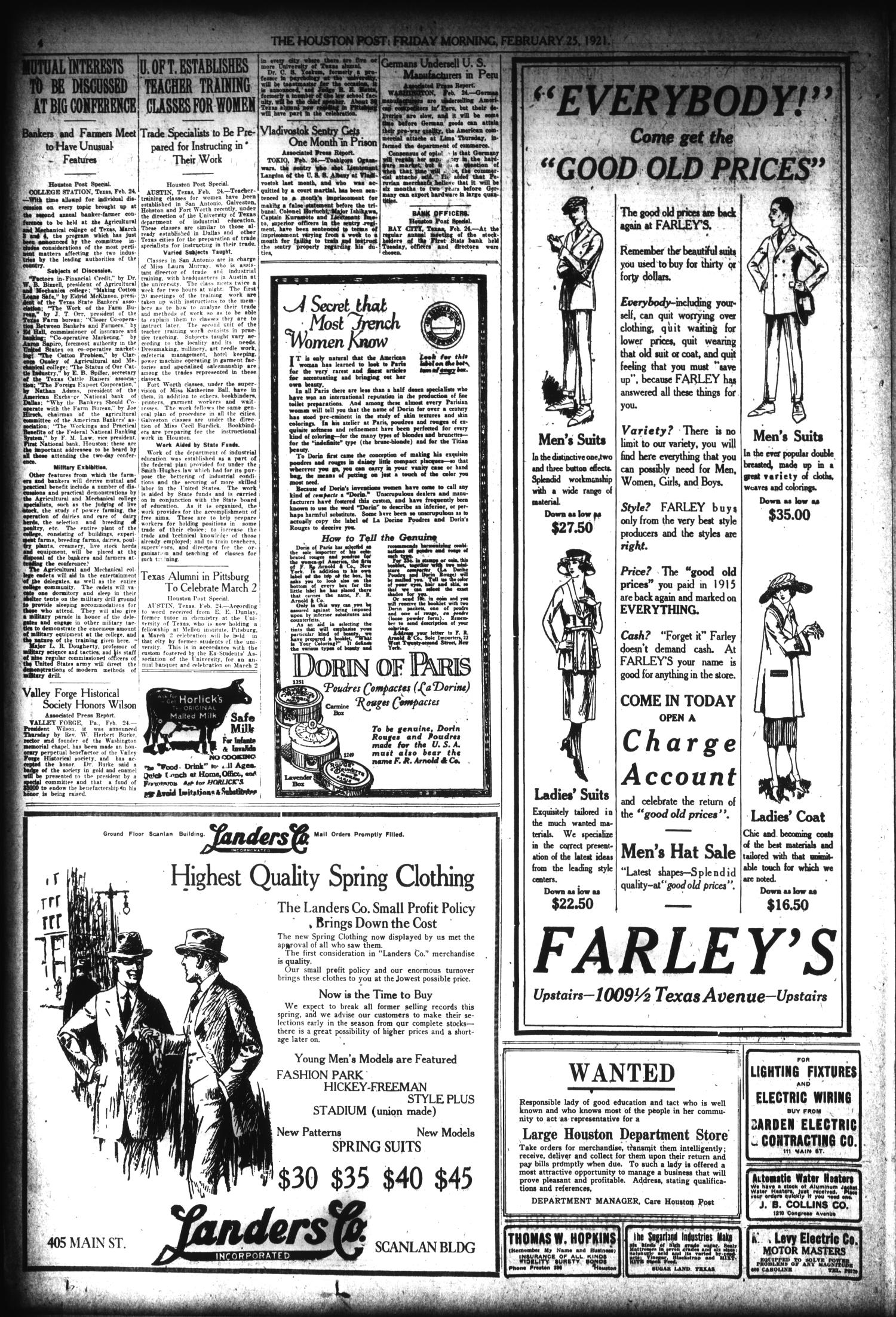 The Houston Post. (Houston, Tex.), Vol. 36, No. 328, Ed. 1 Friday, February 25, 1921                                                                                                      [Sequence #]: 4 of 18