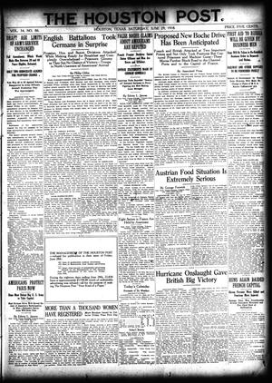 Primary view of object titled 'The Houston Post. (Houston, Tex.), Vol. 34, No. 86, Ed. 1 Saturday, June 29, 1918'.