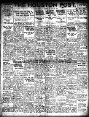 Primary view of object titled 'The Houston Post. (Houston, Tex.), Vol. 38, No. 65, Ed. 1 Thursday, June 8, 1922'.