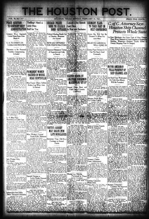 Primary view of object titled 'The Houston Post. (Houston, Tex.), Vol. 36, No. 317, Ed. 1 Monday, February 14, 1921'.
