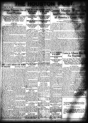 Primary view of object titled 'The Houston Post. (Houston, Tex.), Vol. 34, No. 98, Ed. 1 Thursday, July 11, 1918'.