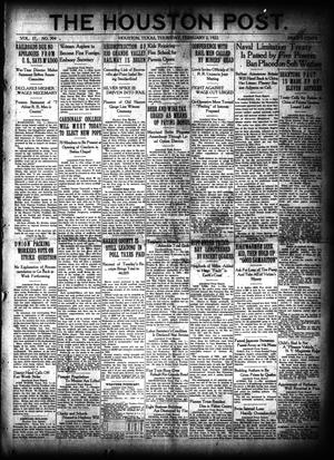 Primary view of object titled 'The Houston Post. (Houston, Tex.), Vol. 37, No. 304, Ed. 1 Thursday, February 2, 1922'.