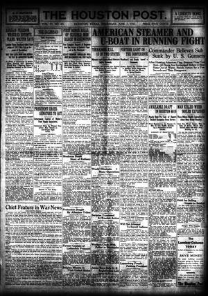 Primary view of object titled 'The Houston Post. (Houston, Tex.), Vol. 33, No. 64, Ed. 1 Thursday, June 7, 1917'.