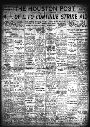 Primary view of object titled 'The Houston Post. (Houston, Tex.), Vol. 38, No. 151, Ed. 1 Saturday, September 2, 1922'.
