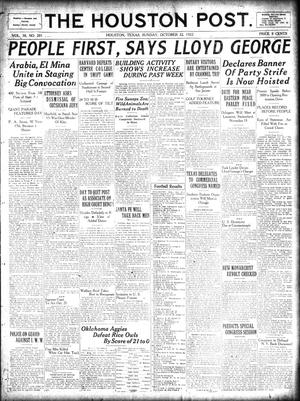 Primary view of object titled 'The Houston Post. (Houston, Tex.), Vol. 38, No. 201, Ed. 1 Sunday, October 22, 1922'.