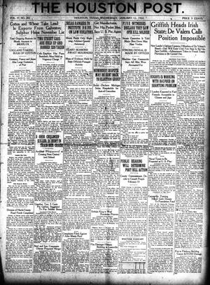 Primary view of object titled 'The Houston Post. (Houston, Tex.), Vol. 37, No. 282, Ed. 1 Wednesday, January 11, 1922'.