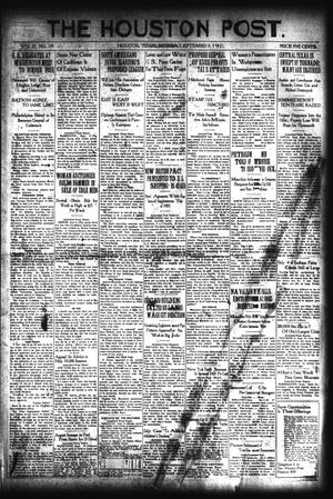 Primary view of object titled 'The Houston Post. (Houston, Tex.), Vol. 37, No. 159, Ed. 1 Saturday, September 10, 1921'.