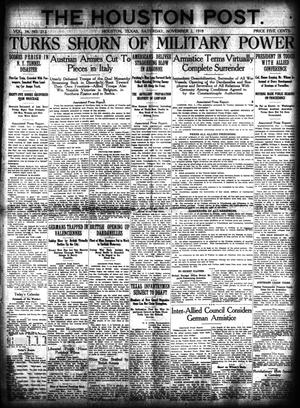 Primary view of object titled 'The Houston Post. (Houston, Tex.), Vol. 34, No. 212, Ed. 1 Saturday, November 2, 1918'.