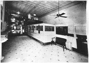 Primary view of object titled '[The Interior of The First National Bank]'.
