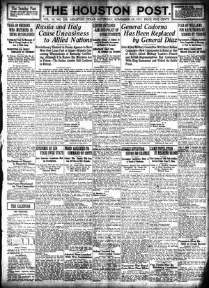Primary view of object titled 'The Houston Post. (Houston, Tex.), Vol. 33, No. 220, Ed. 1 Saturday, November 10, 1917'.