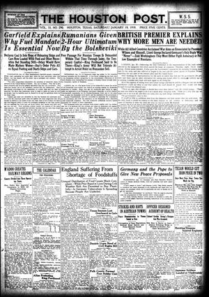 Primary view of object titled 'The Houston Post. (Houston, Tex.), Vol. 33, No. 290, Ed. 1 Saturday, January 19, 1918'.